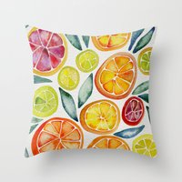 watercolor Throw Pillows featuring Sliced Citrus Watercolor by Cat Coquillette