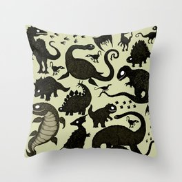 Silhouetted Dinosaurs Throw Pillow