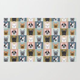 French Bulldog portraits pattern dog person gift love animal pet puppy frenchie bulldog valentines Rug