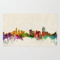 cincinnati Area & Throw Rugs featuring Cincinnati Ohio Skyline by artPause