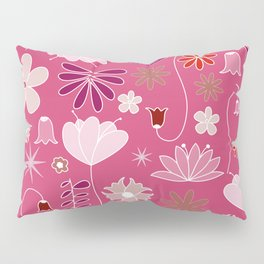 Miscellaneous flowers in a pink backgound Pillow Sham