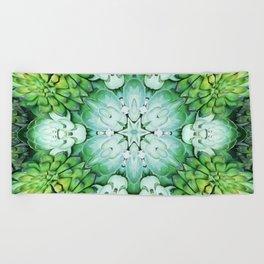 Green Succulent Mandala Beach Towel