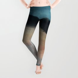 Dawn: a minimal abstract acrylic piece in pink, blues, yellow, and white Leggings