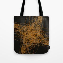 Wint. ethnic M gold on black Tote Bag