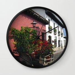 Flower Wagon, Antigua, Guatemala Wall Clock