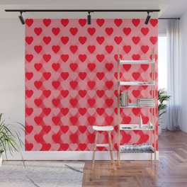 Zigzag of red hearts staggered on a light background. Wall Mural