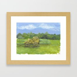 Hay Wagon in a Farm Field, Country Landscape Art Framed Art Print