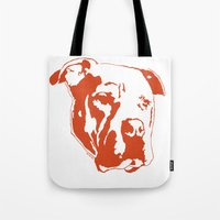 pitbull Tote Bags featuring COACH - ORANGE by Kirk Scott