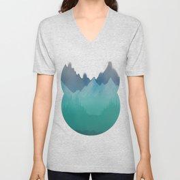 Ombre Mountainscape (Blue, Aqua) Unisex V-Neck