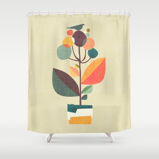 Potted Plant With A Bird Shower Curtain By Picomodi Society6