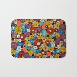 Mixed Flowers - Abstract Mixed Media Painting Bath Mat