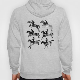 Watercolor Showjumping Horses (Black) Hoody