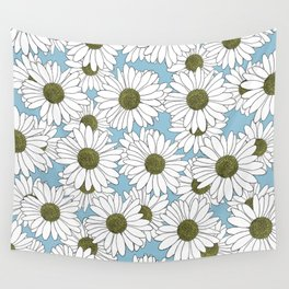 Daisy Blue Wall Tapestry