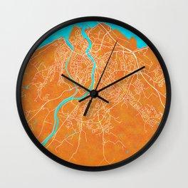 Inverness, Scotland, Gold, Blue, City, Map Wall Clock