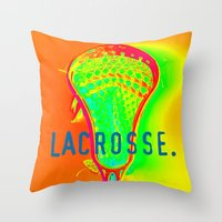 lacrosse Throw Pillows featuring LACROSSE. ORANGE by TMCdesigns