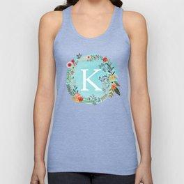 Personalized Monogram Initial Letter K Blue Watercolor Flower Wreath Artwork Unisex Tank Top