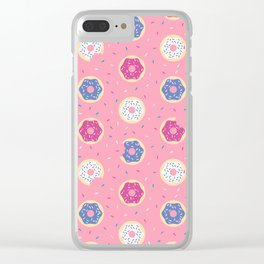 Donuts with Sprinkles Pattern // Purple, Pink, and White Donuts Clear iPhone Case