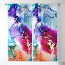 Flowing ink colors abstract design Blackout Curtain
