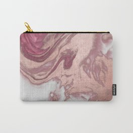Rose Gold Pink White Painted Girly Abstract Marble Carry-All Pouch