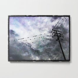 Birds On Wire Metal Print