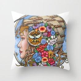 Beatrix Bee Queen by Bobbie Berendson W Throw Pillow