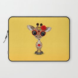 Red and Yellow Day of the Dead Sugar Skull Baby Giraffe Laptop Sleeve