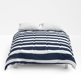Ocean Stripes, Modern, Abstract, Navy Blue and White Comforters