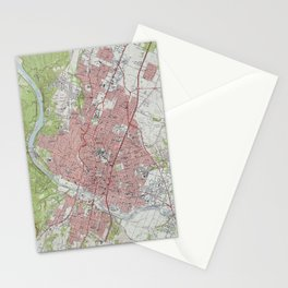 Vintage Map of Austin Texas (1955) Stationery Cards