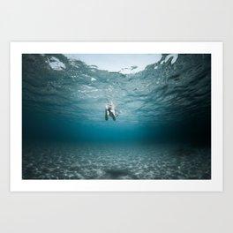 boy swimming mllorca / un garçon nage Art Print