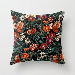 Marijuana and Floral Pattern Throw Pillow