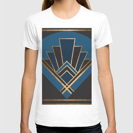 Art Deco New Yesterday In Blue T-shirt