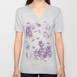 Lavender Bouquets On White Background #decor #society6 #buyart Unisex V-Neck