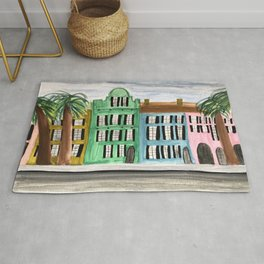 Rainbow Row Charleston South Carolina Watercolor Sketch Rug