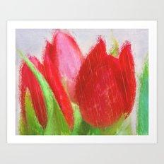 Tulips in the rain Art Print