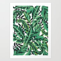 wallpaper Art Prints featuring Tropical Glam Banana Leaf Print by Nikki