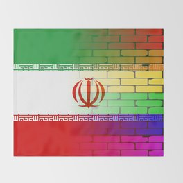 Gay Rainbow Wall Iranian Flag Throw Blanket