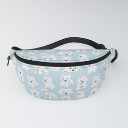 Westies on Light Blue Fanny Pack