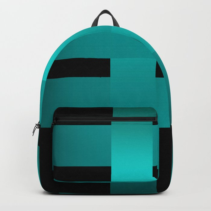 Abstraction .Weave turquoise satin ribbons . Patchwork . Backpack