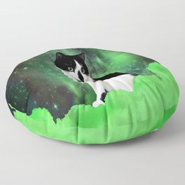 Gypsy Da Fleuky Cat and the Kitty Emerald Night Floor Pillow