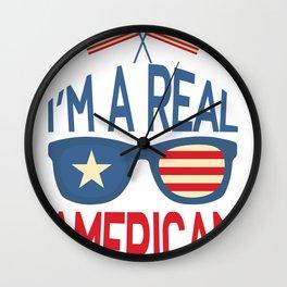 American Flag Real American USA Patriot Wall Clock