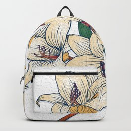 Simple White Floral Backpack