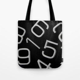 Silver numbers on black Tote Bag