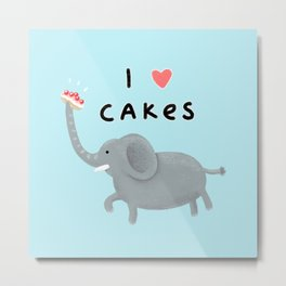 Elephant Loves Cakes Metal Print