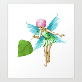 Quaking Aspen Tree Fairy Holding Leaf Art Print