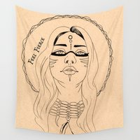 fierce Wall Tapestries featuring Feel Fierce by Sarah Marie