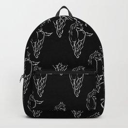 Multiple Horses, White on black Backpack
