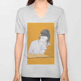 Fashion Graphic girl writes a directory at home. Unisex V-Neck