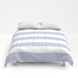 Light periwinkle - solid color - white stripes pattern Comforters
