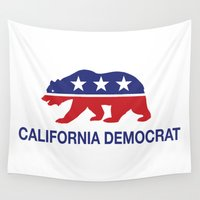 political Wall Tapestries featuring California Political Democrat Bear by Democrat