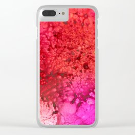 Red to pink spattered Clear iPhone Case